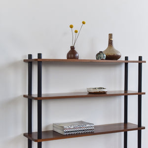 Vintage Small Wooden Teak and Black Free Standing Shelving Unit / Room Divider