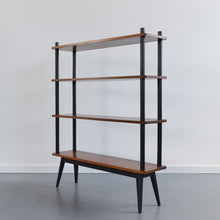 Load image into Gallery viewer, Vintage Small Wooden Teak and Black Free Standing Shelving Unit / Room Divider