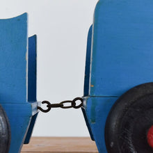 Load image into Gallery viewer, Vintage Handmade Blue Wooden Toy Train