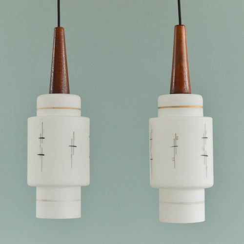 Vintage 1950s Pair of White Patterned Glass and Teak Pendant Light Shades
