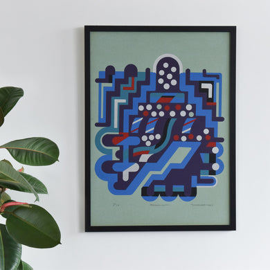 Vintage 1967 Framed Screenprint Signed by M.Ravett in the Style of Sir Eduardo Paolozzi