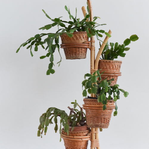 Vintage Bamboo Tiered Decorative Plant Stand with Basket Containers