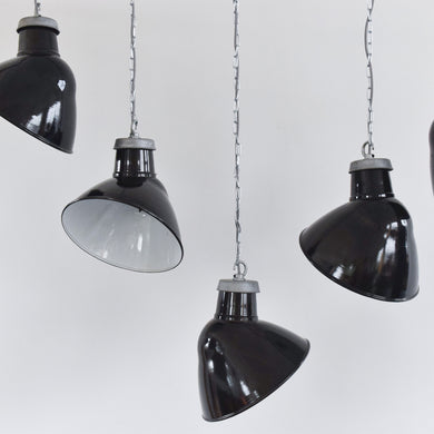 Vintage Black Industrial Asymmetric Enamel Pendant Light Shade and Fitting
