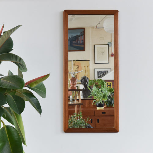 Vintage Long Rectangular Teak Mirror