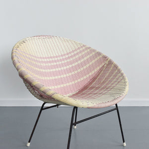 Vintage Pink and White Wicker Satellite Chair