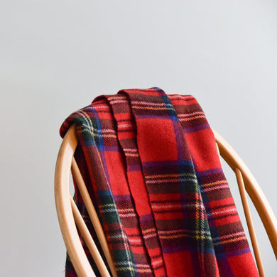 Vintage Wool Traditional Red Tartan Pattern Blanket by Glencairn