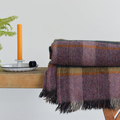 Vintage Wool Purple Checked Pattern Blanket