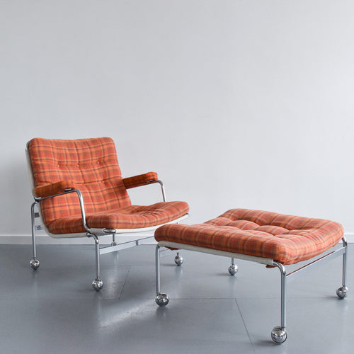 Vintage Swedish Orange Checked 'Karin' Arm Chair and Foot Stool Set by Bruno Mathsson for DUX