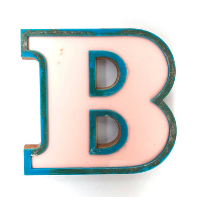 B - Medium Factory Shop Letter Ply Wood & Perspex Pink & Green