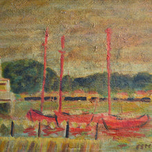 Load image into Gallery viewer, French Seascape - 'Red Sailboats' G. Estibe