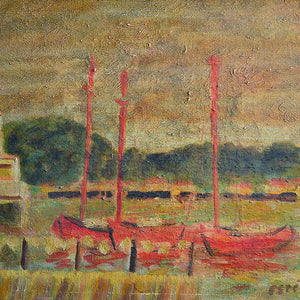 French Seascape - 'Red Sailboats' G. Estibe