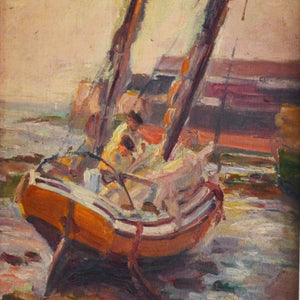 Late 19th century Oil on Board - Waiting for the Tide; Tréport