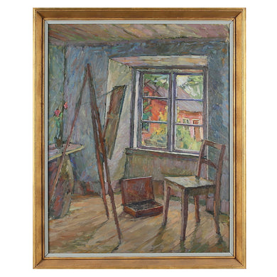 1947, Large Oil Painting, 'Artist's Studio,' Einar Rosen