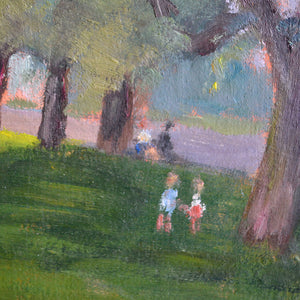 1945, Oil on Board, 'Afternoon in the Park,' Georges Guerin (1910-)
