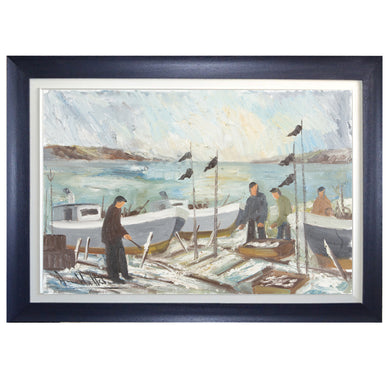 Mid-century Oil Painting, 'Swedish Fishermen' Wallsten