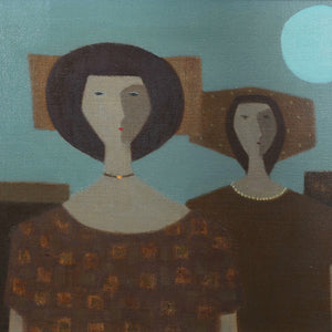 Mid Century Oil - 'two Woman' - Fabian Lundqvist