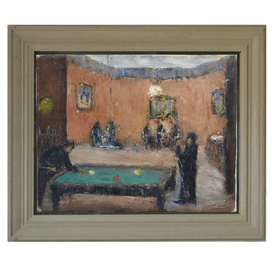 1920 French Impressionist Painting 'Billiards'