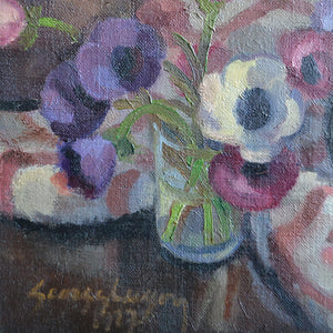 1927 Painting 'Anemones' Georges Lugon (1896-1989)