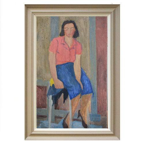 1940s Painting, 'Girl in a Red Blouse'