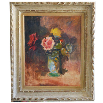 1940s, Swiss Painting, 'Rose Bouquet' by Karl Weber