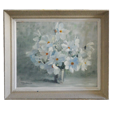 1949, French Still Life Painting, 'Cosmos Blanc' by Rouviere