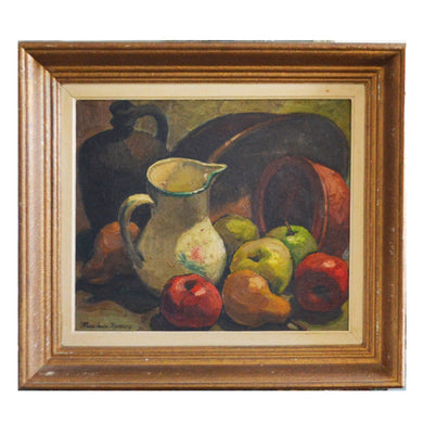 1950s French Still Life, 'Jug and Apples' by Marie-Louise Marescq