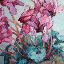 Load image into Gallery viewer, 1950s Painting 'Cyclamens' Anne Marie Dufour