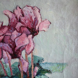 1950s Painting 'Cyclamens' Anne Marie Dufour