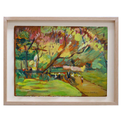 1932 Oil Painting, Park Life, Lucienne Dusart