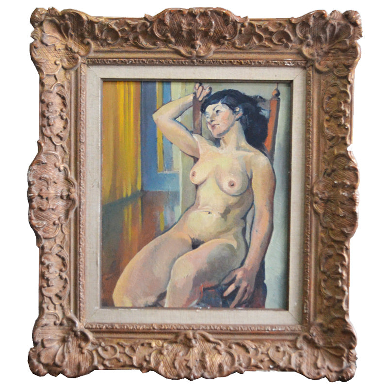 Large 1932 Painting 'Seated French Nude'