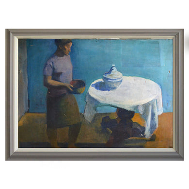 Large, 1964 Painting, 'White Table Cloth,' Jean Langlois (1923-2014)