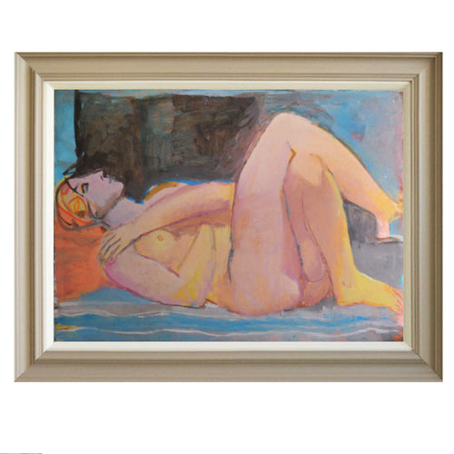 Large, 1985 Painting, 'Female Nude,' Jean Langlois (1923-2014)