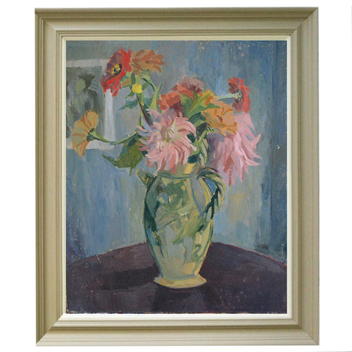 Mid-century, French Still Life Painting, 'Dahlias'