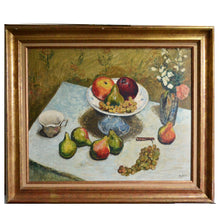 Load image into Gallery viewer, Mid-century, Large French Painting, 'Pears and Grapes'