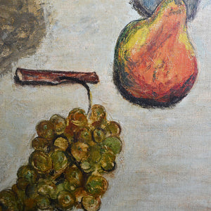 Mid-century, Large French Painting, 'Pears and Grapes'