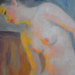 Mid Century, Paris Oil Painting, 'La Baigneuse'