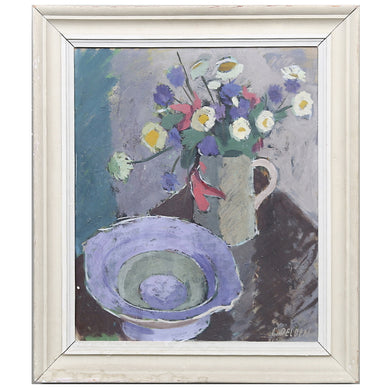 Mid Century Swedish Painting, 'Daisies' by Carl Delden