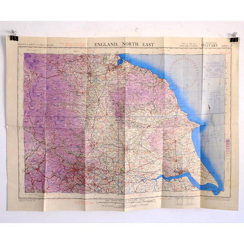 WW2 War Office Map of North East England