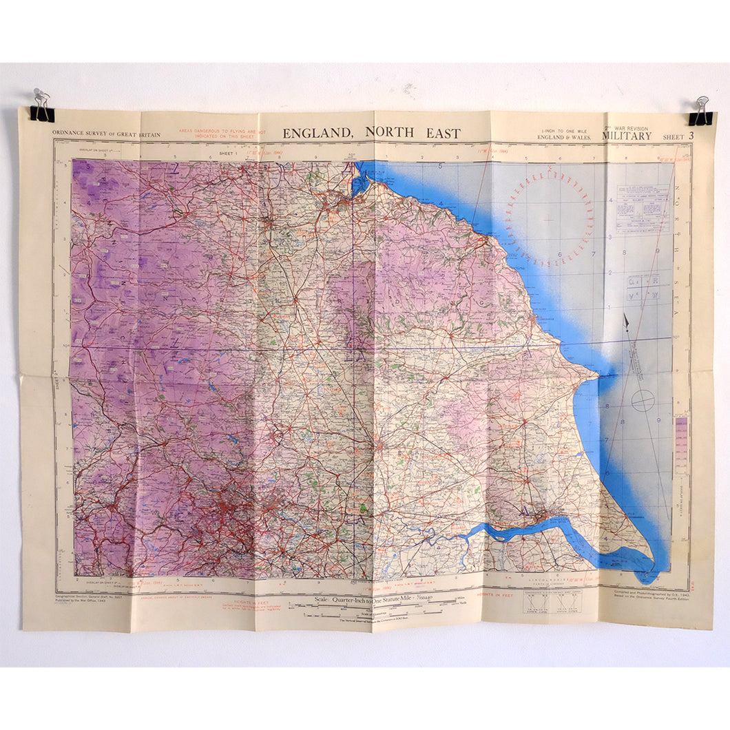 Map Of The East Of England.Ww2 War Office Map Of North East England