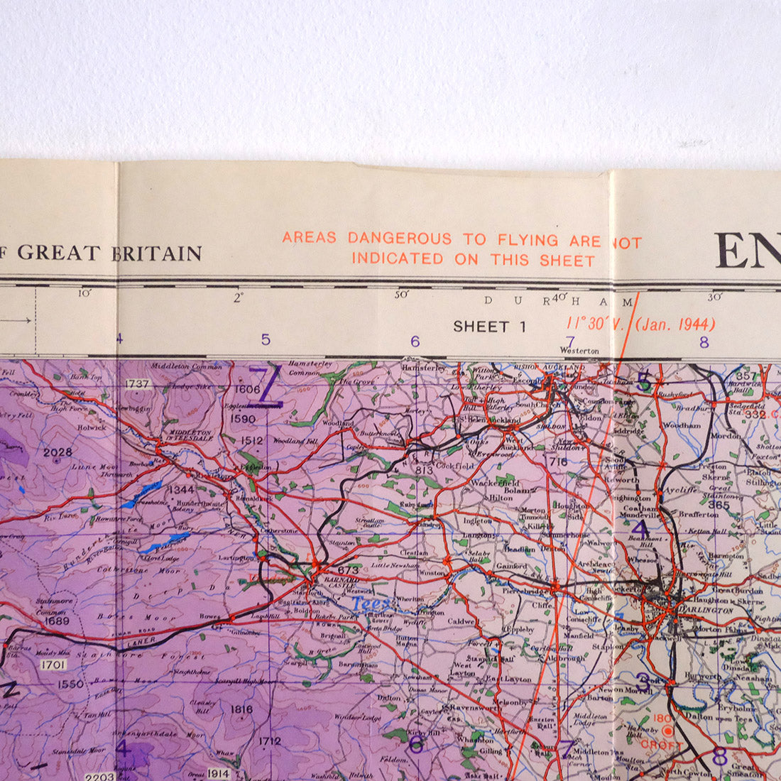 Map East Of England.Ww2 War Office Map Of North East England