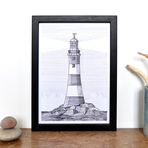 Lighthouses of the UK Print - Smeaton's Tower, Plymouth - A4