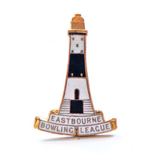 Load image into Gallery viewer, Vintage Enamel Lighthouse Badge - Eastbourne Bowling League