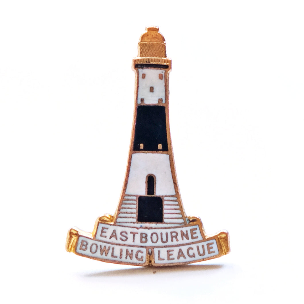 Vintage Enamel Lighthouse Badge - Eastbourne Bowling League