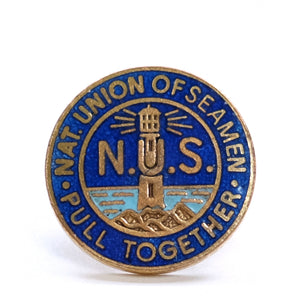Vintage Enamel Lighthouse Badge - National Union of Seamen Pull Together
