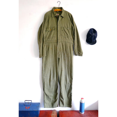 1940s Canadian Coveralls / Boilersuit in Green Herringbone Twill