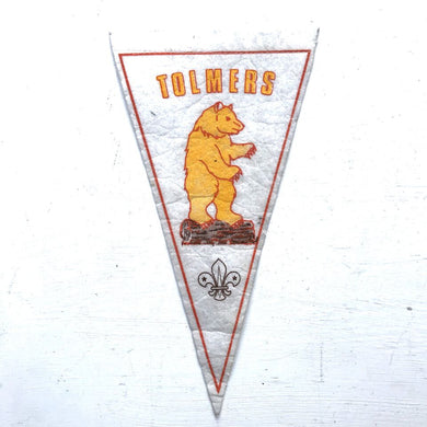 Vintage Pennant - Tolmers Scout Camp - White