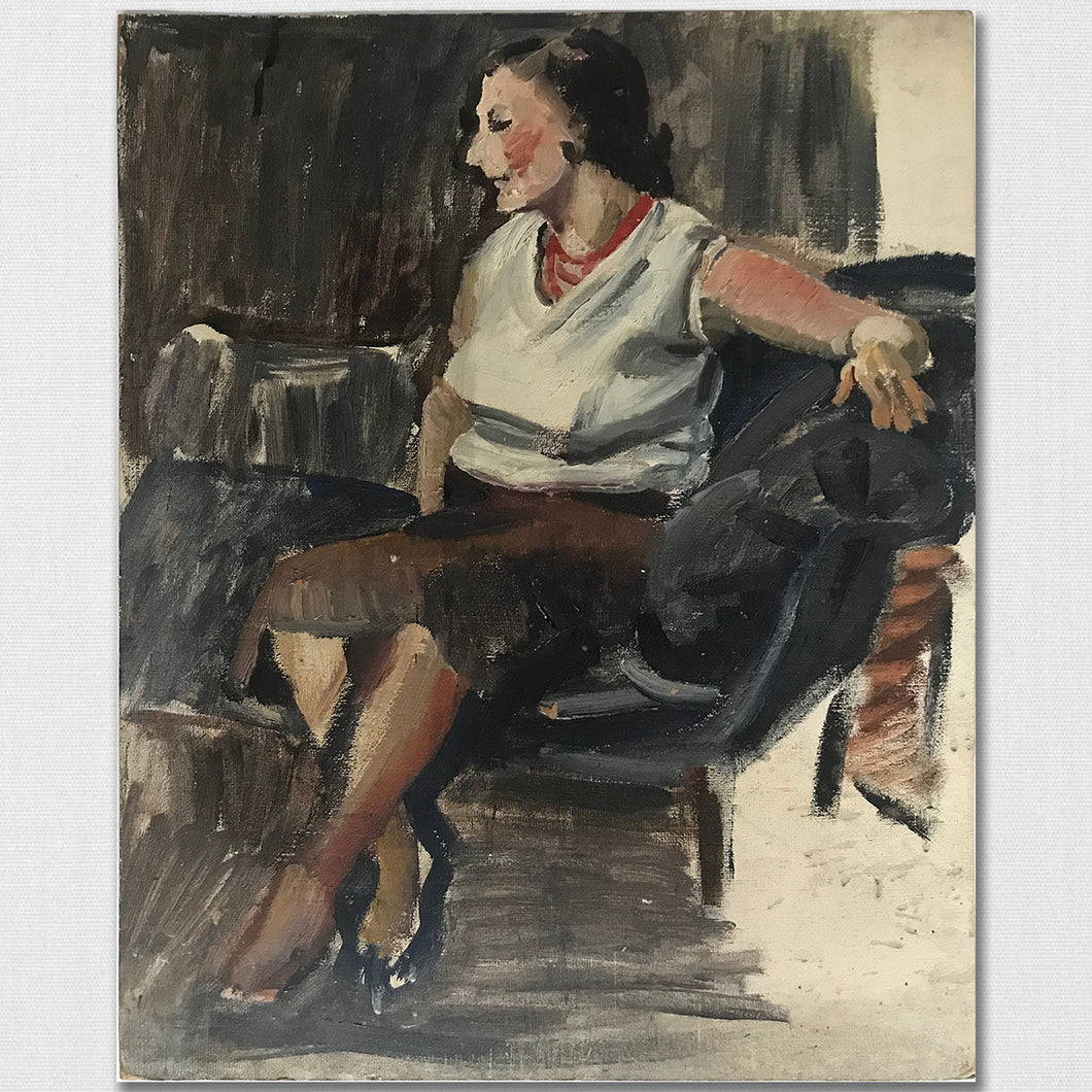 Seated Lady - Oil On Board - c1950s