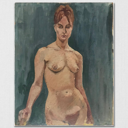 Original Nude - Oil On Board - c1950s