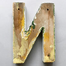 Load image into Gallery viewer, 1940s Black Wooden Letter - N