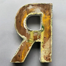 Load image into Gallery viewer, 1940s Black Wooden Letter - R
